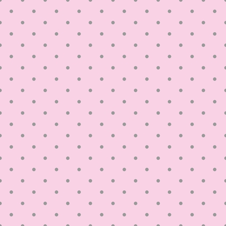 Seamless pink vector pattern with dark grey polka dots on a pastel pink background. For desktop wallpaper, kids website design background, wedding or baby shower albums, backgrounds, arts and scrapbooks. Vettoriali