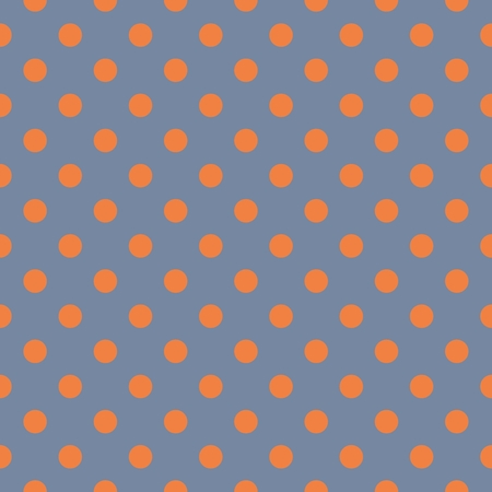 preppy: Tile vector pattern, texture or background with seamless orange polka dots on grey blue background