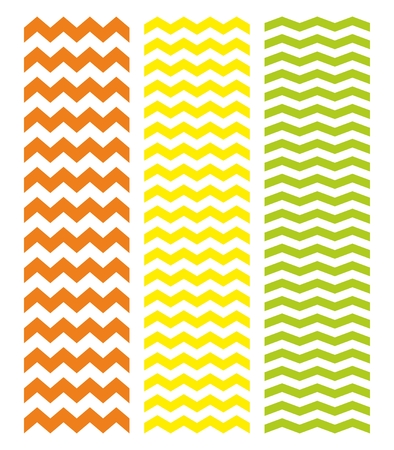 herringbone background: Tile chevron vector pattern set with green, yellow and red zig zag on white background Illustration