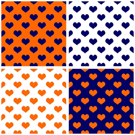 navy blue background: Seamless vector dark navy blue, white and orange background or tile pattern set with hearts