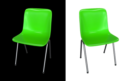 Green modern chair isolated on black and white background. photo