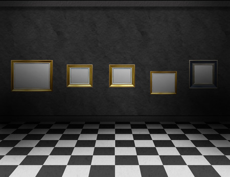 Empty, dark gallery room with black and white checker  photo
