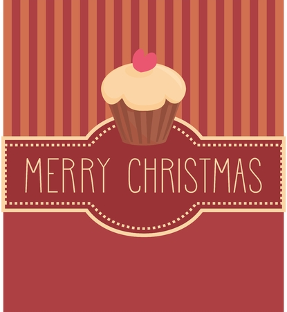 Christmas vector card or invitation for party with sweet cupcake and hand drawn Merry Christmas wishes Vector