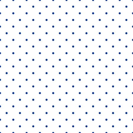 Seamless vector pattern with small tile sailor navy blue polka dots on white background Vettoriali