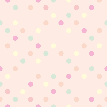 Colorful vector pastel polka dots on baby pink background - retro seamless pattern for backgrounds, blogs, www, scrapbooks, party or baby shower invitations and wedding cards.