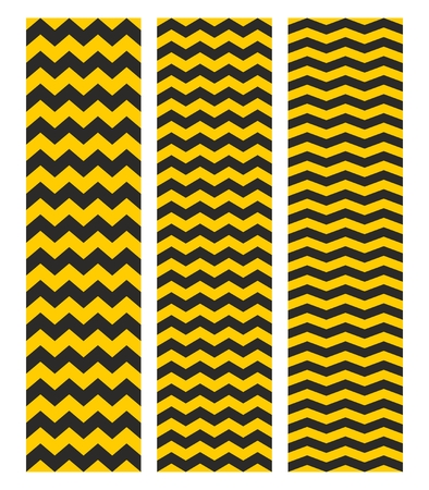 herringbone background: Tile chevron vector pattern set with yellow and black zig zag