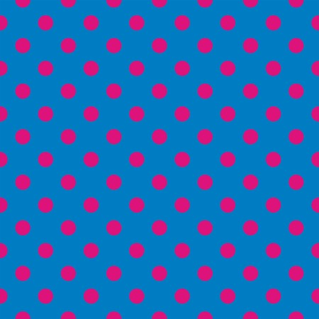 Seamless vector pattern with neon pink polka dots on a dark blue background. For web design, desktop wallpaper, kids background, art, decoration or scrapbook. Vector