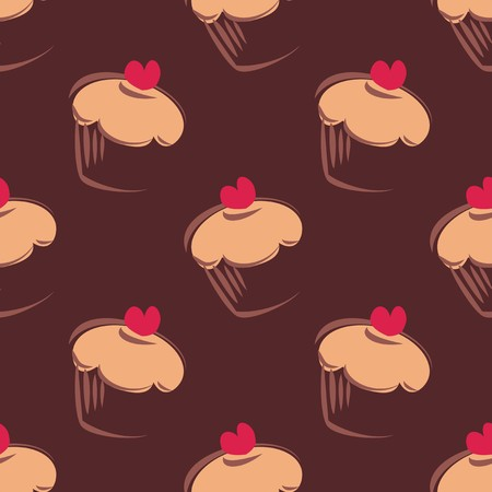 Seamless vector pattern background with big chocolate brown cupcakes, muffins, sweet cake and red heart on top. Background or texture with sweets desktop wallpaper, web design or culinary blog website Vector