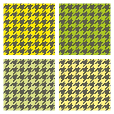tweed: Houndstooth seamless pattern vector set. Traditional tile dogtooth tartan tweed collection for colorful website background or desktop wallpaper in yellow, green, dark grey or black color. Illustration