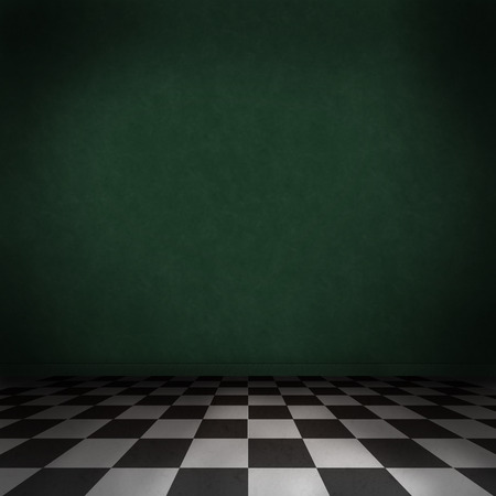 checker: Empty, dark, psychedelic room with black and white checker on the floor and dark green wall. Empty background texture for design.