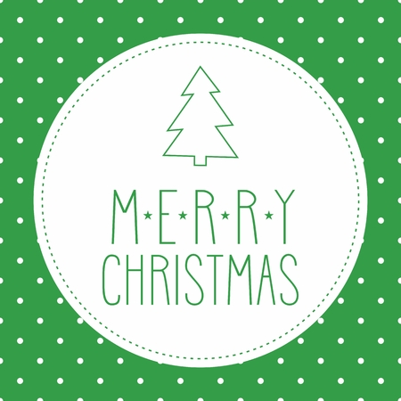 Holidays vector card or invitation with christmas tree and hand drawn Merry Christmas wishes and white polka dots on green background Vector