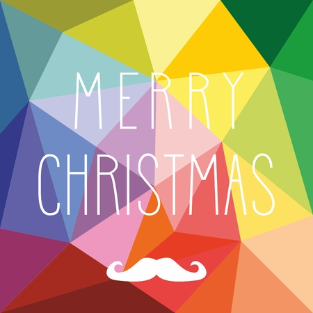 Holidays vector card with hipster mustache, hearts and hand drawn Merry Christmas wishes Vector