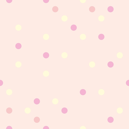 Colorful vector background with yellow, red and pink polka dots on cute baby pink background - retro seamless pattern or texture for desktop wallpaper, blog or kids website background.