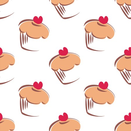 Seamless white vector pattern or tile background with big cupcakes silhouettes, muffin sweet cake and red heart on top. Texture with sweets for desktop wallpaper or decoration Vector