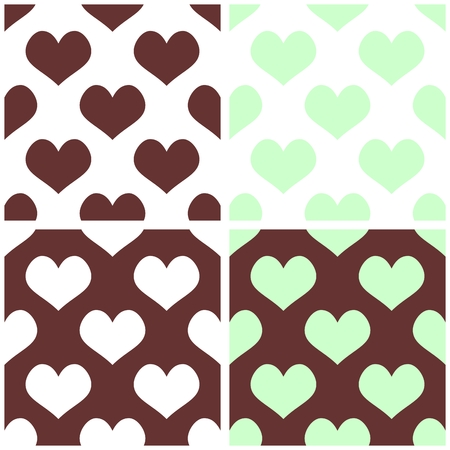 chocolate mint: Seamless vector pastel hearts tile background set. Full of love pattern for valentines desktop wallpaper or website design in white, chocolate brown and mint green color