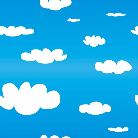 Seamless vector pattern with white clouds on blue sky background. Cloud computing concept cartoon flat design for web design, summer blog or desktop wallpaper. Vector