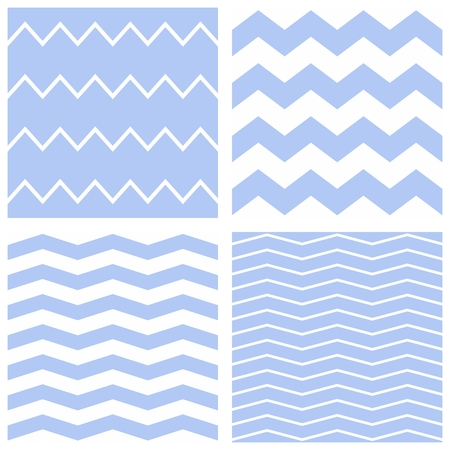 zig: Tile chevron vector pattern set with sailor blue and white zig zag background