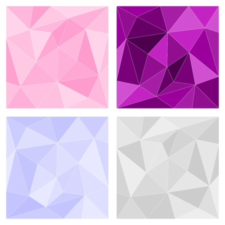 Pink, grey and violet triangle vector background or chevron surface pattern set Vector