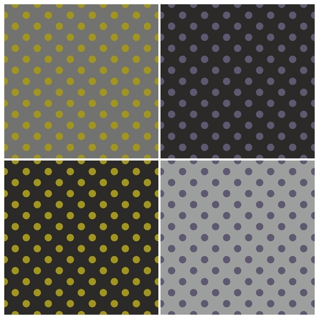 Seamless vector dark pattern set with colorful violet and green polka dots on black and grey background for halloween desktop wallpaper and website design Vector