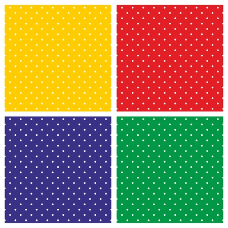 Vector set of sweet seamless patterns with white polka dots on colorful red, yellow, green and dark navy blue background for desktop wallpaper or kids website design Vector