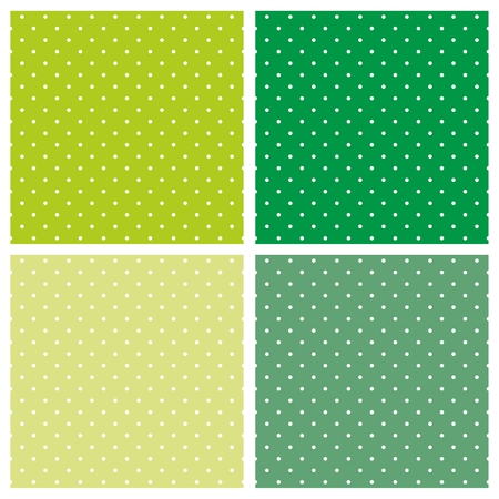 Green background vector set with seamless patterns or textures. White polka dots on pastel, colorful fresh spring green and yellow background. Vector