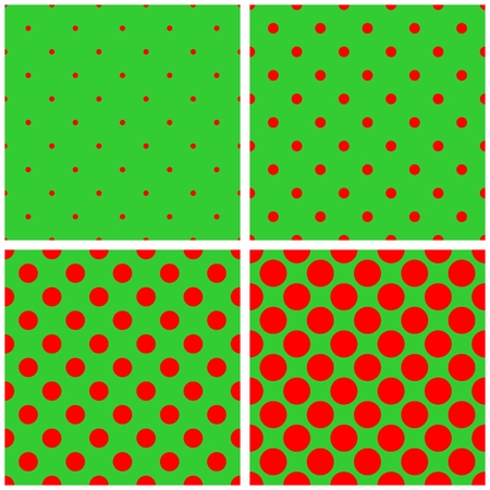 repetition dotted row: Tile red and green vector pattern set with polka dots and houndstooth background Illustration