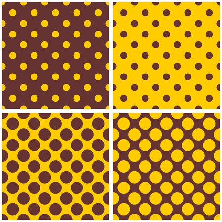Tile vector pattern set with yellow and brown polka dots Vector