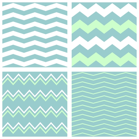 zig: Tile chevron vector pattern set with green, blue and white zig zag background Illustration