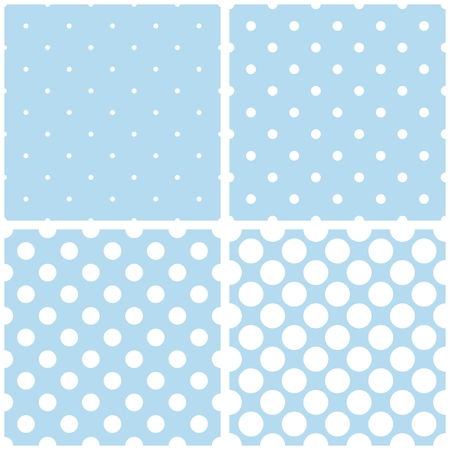 repetition dotted row: Cute blue tile vector pattern set with white polka dots on pastel background