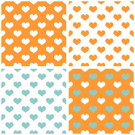 desktop wallpaper: Sin fisuras vector pastel conjunto corazones fondo. Lleno de patr�n de mosaico amor para fondo de pantalla de San Valent�n escritorio o dise�o de sitios web en blanco, naranja y menta pastel de color verde