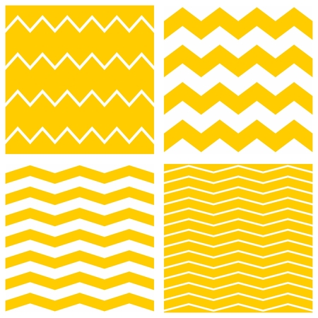 zig zag: Tile chevron vector pattern set with yellow and white zig zag background
