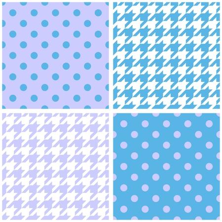 Blue, white and violet background set. Houndstooth and polka dots seamless pattern collection for desktop wallpaper or kids website design Vector