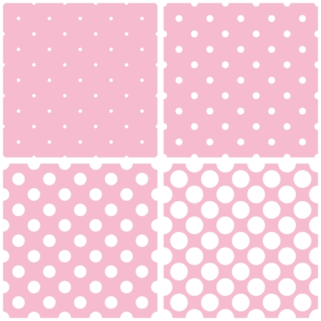 repetition dotted row: Tile vector pattern set with white polka dots on baby pink background Illustration