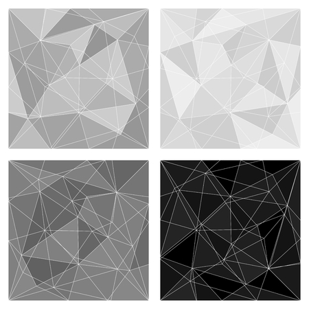 Grey, white and black triangle vector background or chevron surface pattern set Vector