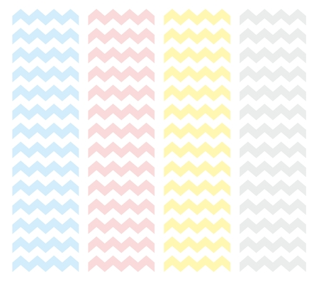 Zig zag chevron vector pattern set. Pastel pink, blue, yellow and grey baby background collection