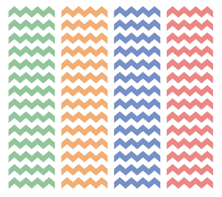 Zig zag chevron vector pattern set. Pastel pink, blue, orange and green summer background collection Vector
