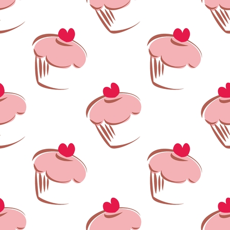 Seamless white vector pattern or background with big cupcakes silhouettes, muffin sweet cake and red heart on top. Texture with sweets for desktop wallpaper or culinary blog website