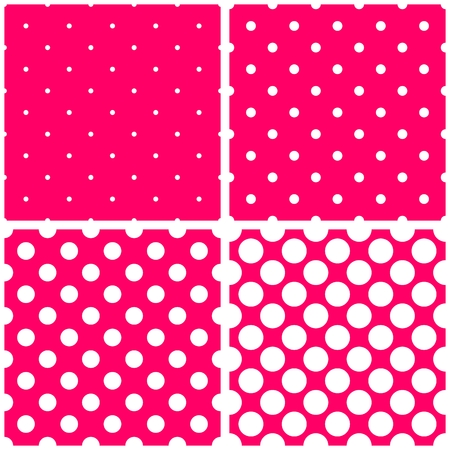 repetition dotted row: White polka dots on pink vector background set. Sweet retro fabric tile pattern collection with spots for kids website design background or desktop wallpaper