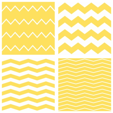 yellow vector: Tile chevron vector pattern set with yellow and white zig zag background