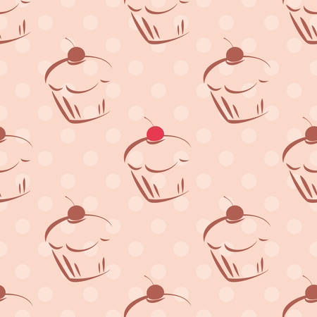 Seamless vector pattern or tile texture with cherry cupcakes and white polka dots on pink background. Hand drawn muffins and sweet cake dessert background for desktop wallpaper, culinary blog website. Vector