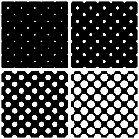 Seamless black and white vector pattern or background set with big and small polka dots. For desktop wallpaper and website design.