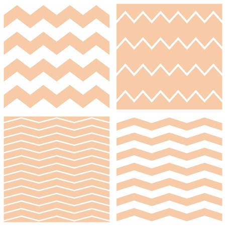 Tile pastel vector pattern set with white and baige pink zig zag background Illustration