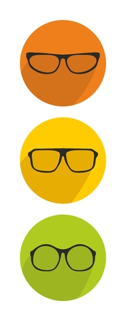 shilouette: Glasses green, yellow and orange vector icon set isolated on white background Illustration