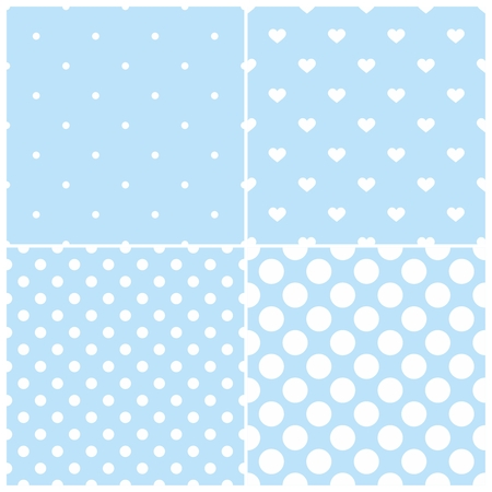Cute blue tile vector pattern set with white polka dots and hearts on pastel background Vector