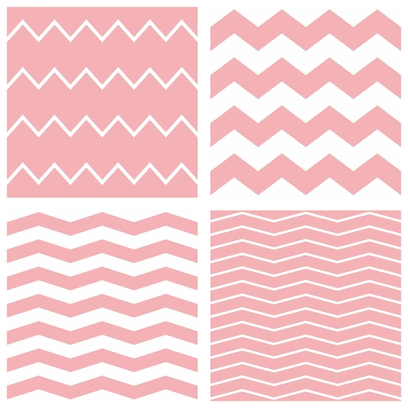 zag: Tile pastel vector pattern set with white and pink zig zag background