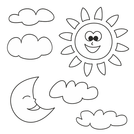page: Sun, moon and clouds - weather cartoon icons vector illustrations isolated on white background for kids coloring book Illustration