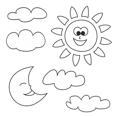 zon maan: Zon, maan en wolken - weer cartoon iconen vector illustraties op een witte achtergrond voor kinderen kleurboek