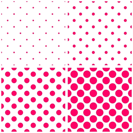 repetition dotted row: Tile pink polka dots on white vector background set. Sweet retro fabric tile pattern collection with spots for kids website design background or desktop wallpaper