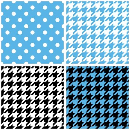 Blue, white and black pastel vector tile background set. Houndstooth and polka dots seamless pattern collection for desktop wallpaper or kids website design Vector