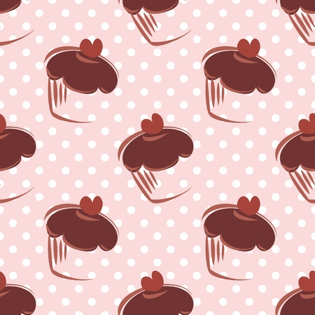 desktop wallpaper: Seamless vector pattern with chocolate cupcakes, muffins, sweet cake with pink heart on top and white polka dots on peach pink background with sweets for desktop wallpaper or culinary blog website
